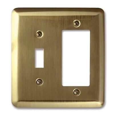 Devon Brushed Brass 2-Gang 1-Toggle/1-Decorator/Rocker Wall Plate (1-Pack)