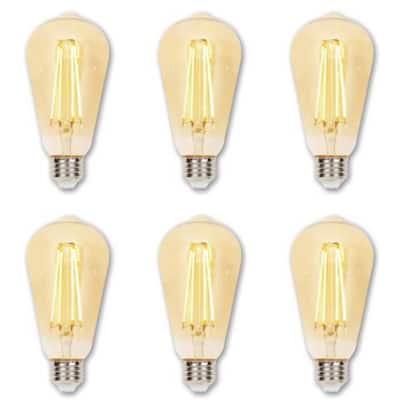 60-Watt Equivalent ST20 Dimmable Amber Edison Filament LED Light Bulb Warm Amber Light (6-Pack)