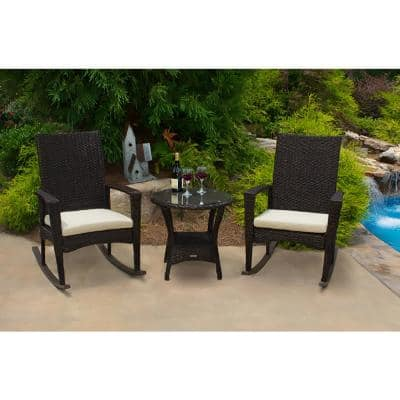 Tortuga Outdoor Bayview Pecan 3-pc Wicker Outdoor Rocking Chair Set with Tan Cushion