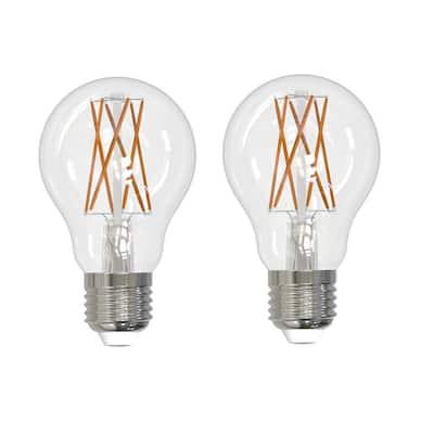 60-Watt Equivalent Warm White Light A19 Dimmable Filament JA8 LED Light Bulb (2-Pack)