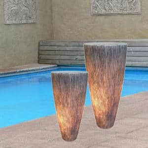 Mariana Abstract Gray Sandstone Ribbed Long Conical Planter with Light