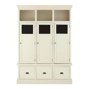 Shelton Polar White Wooden Storage Locker with 3 Doors and 3 Drawers