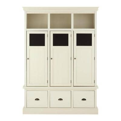 Shelton Polar White Wooden Storage Locker with 3 Doors and 3 Drawers