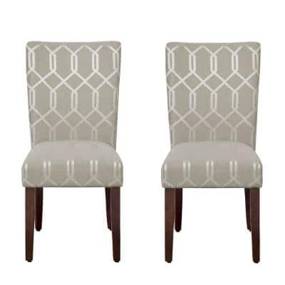 Parsons Pewter Gray and Cream Lattice Upholstered Dining Chair Set of 2