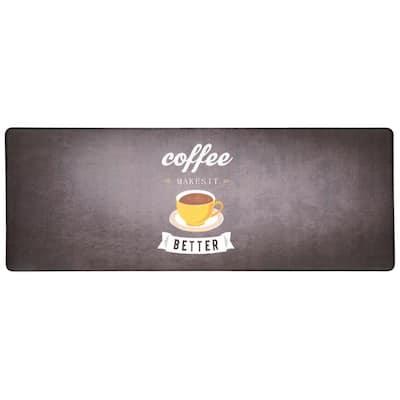 Coffee 18 in. X 47 in. Black Anti-Fatigue Mat