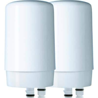 Faucet Mount Tap Water Filtration System Filter Replacement Cartridge (2-Pack), BPA Free, Reduces Lead