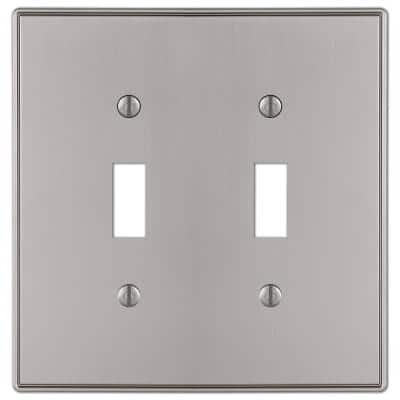 Ansley 2 Gang Toggle Metal Wall Plate - Brushed Nickel