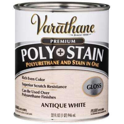 1 Qt. Antique White Semi-Transparent Gloss Water-Based Interior Polyurethane and Stain (2-Pack)