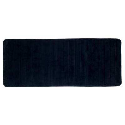 Black 24.25 in. x 60 in. Memory Foam Striped Extra Long Bath Mat