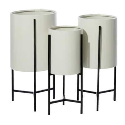 White and Black Iron Drum Planters with Stands (Set of 3)