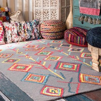 Belini Moroccan Southwestern Symbols Gray 9 ft. x 12 ft. Area Rug