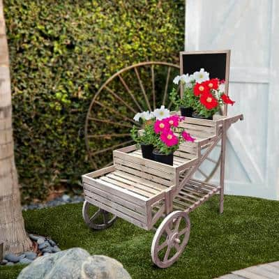 59 in. Tall Indoor/Outdoor Wooden Cart Plant and Display Stand with Chalkboard