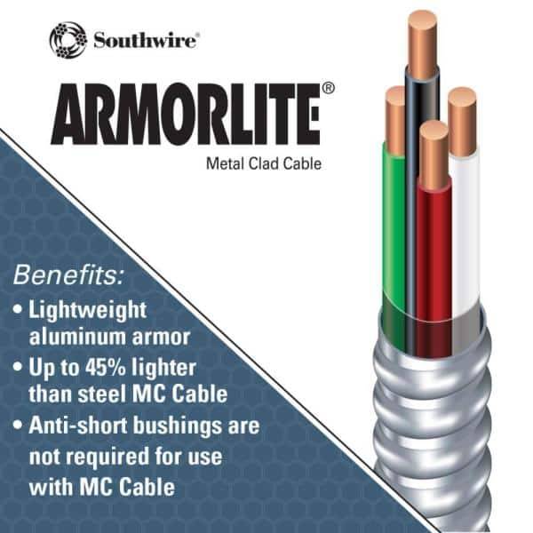 Southwire 10 3 X 25 Ft Solid Cu Mc Metal Clad Armorlite Cable 68584221 The Home Depot