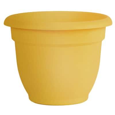 Ariana 11 in. Earthy Yellow Plastic Self-Watering Planter