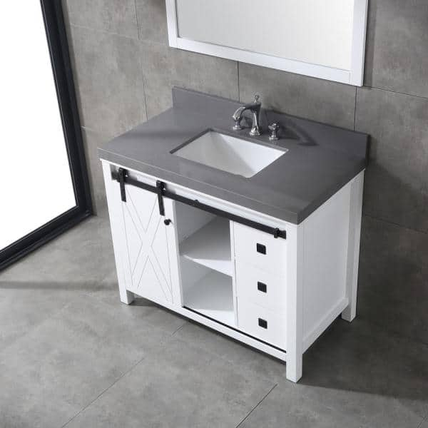 Eviva Dallas 42 In W X 22 In D Bathroom Vanity In White With Granite Countertop In Absolute Black Evvn529 42wh The Home Depot