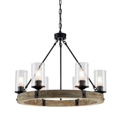 6-Light Matte Black and Vintage Wood Wheel Chandelier with Clear Glass Shade