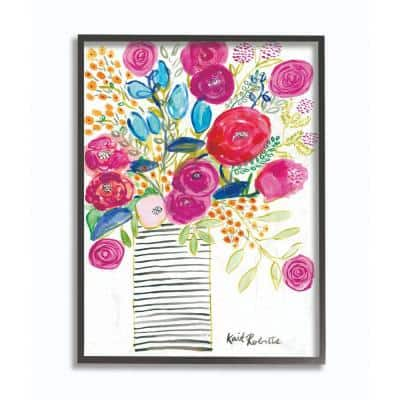 """24 in. x 30 in. """"Pink and Blue Flower Drawing"""" by Penny Lane Publishing Framed Wall Art"""
