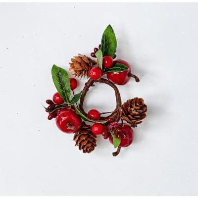 """1.25"""" GREEN LEAVES, RED APPLES/BERRIES AND PINECONE CANDLE RING (Set of 12)"""