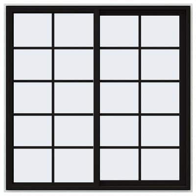 60 in. x 60 in. V-4500 Series Black FiniShield Vinyl Right-Handed Sliding Window with Colonial Grids/Grilles