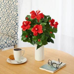 20 in. Hibiscus Artificial Plant Artificial Plant in White Planter