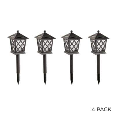 16 in. Tall Outdoor Solar Powered Black LED Path Light Stakes (Set of 4)