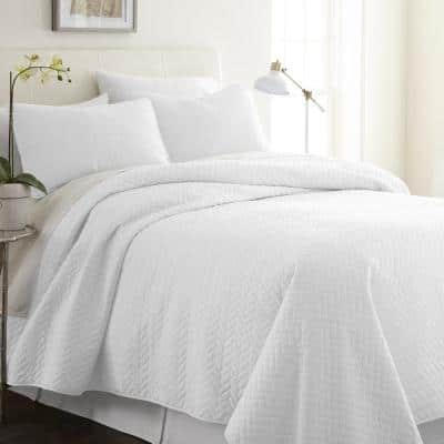 Herring White Microfiber Twin Performance Quilted Coverlet Set