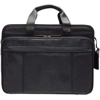 Beverly Hills Collection Black Leather Double Compartment Briefcase with RFID Secure Pocket for 17.3 in. Laptop/Tablet