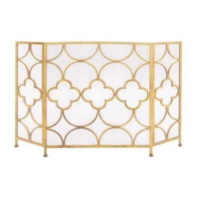 Gold 3-Panel Metal Fireplace Screen