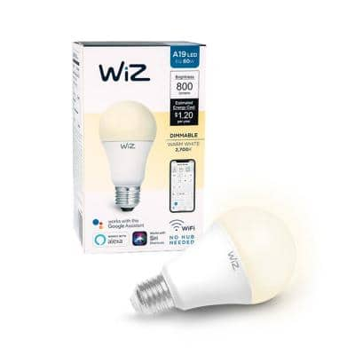 60-Watt Equivalent A19 Dimmable Wi-Fi Connected Smart LED Light Bulb Warm White (4-Pack)