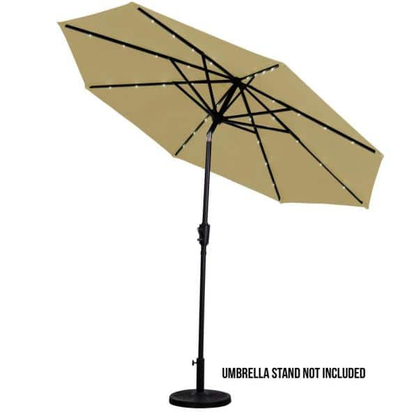 Sun Ray 9 Ft Round Solar Lighted Market Patio Umbrella In Taupe 841026 The Home Depot