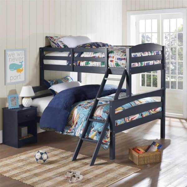 Dorel Living Brady Twin Over Full Graphite Blue Wood Bunk Bed Fa6940bl The Home Depot