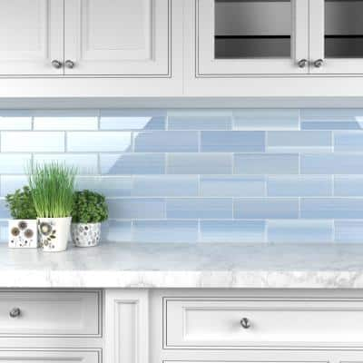 Big Blue 4 in. x 12 in. Glass Tile for kitchen Backsplash and Showers (10 sq. ft./per Box)