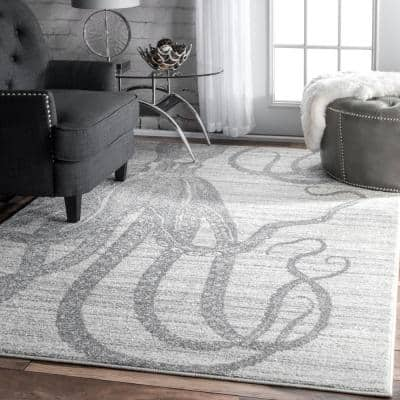 Thomas Paul Octopus Silver 7 ft. x 9 ft. Area Rug