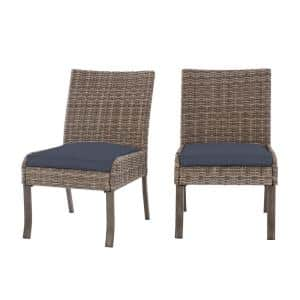 Windsor Brown Wicker Outdoor Patio Stationary Armless Dining Chair with CushionGuard Sky Blue Cushions (2-Pack)