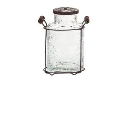 7.25 in. Glass Jar Vase in Clear