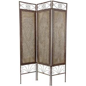 6 ft. Beige 3-Panel Mediterranean Room Divider