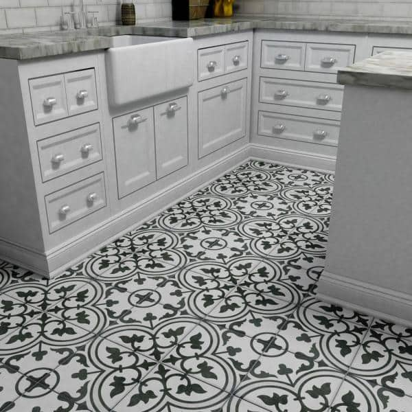 Merola Tile Arte White Encaustic 9 3 4 In X 9 3 4 In Porcelain Floor And Wall Tile 11 11 Sq Ft Case Fcd10arw The Home Depot