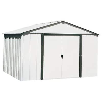 Arlington 10 ft. W x 8 ft. D Galvanized Metal White Storage Building