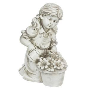 Solar Girl Watering Flowers Statue