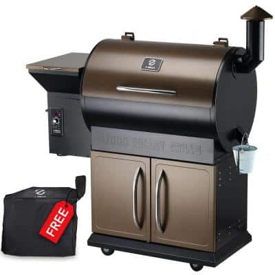 700D 694 sq. in. Wood Pellet Grill and Smoker 8-in-1 BBQ in Bronze