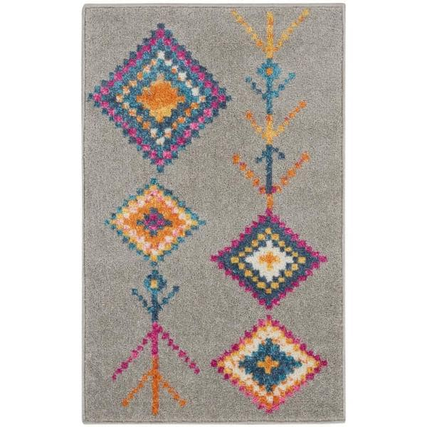 Nourison Passion Ivory Multicolor 2 Ft X 3 Ft Moroccan Southwestern Area Rug 803245 The Home Depot