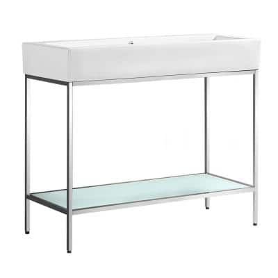 Pierre 40 in. W x 18.1 in. D Bath Vanity in Chrome with Ceramic Vanity Top in White with White Basin