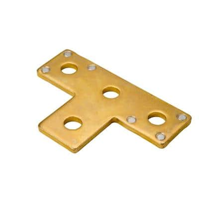 4-Hole Strut T-Bracket - Gold Galvanized with Magnets