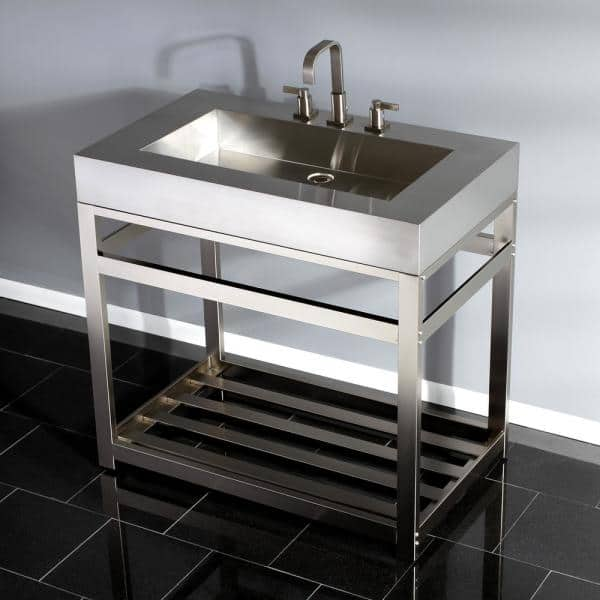 Kingston Brass 49 In W Bath Vanity In Brushed Nickel With Stainless Steel Vanity Top In Silver With Silver Basin Hkvsp4922a8 The Home Depot