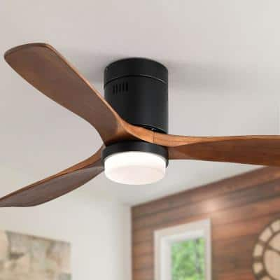52 in. Integrated LED Indoor Black Ceiling Fan Blade Noiseless Reversible Motor Remote Control with Light