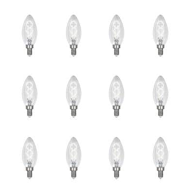 25-Watt Equivalent B10 Dim Candelabra Clear Glass Vintage Edison LED Light Bulb with Spiral Filament Daylight (12-Pack)