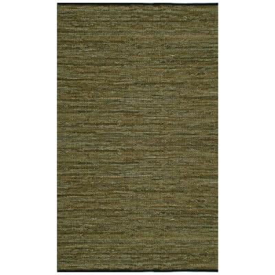Green Leather 2 ft. 6 in. x 4 ft. 2 in. Accent Rug