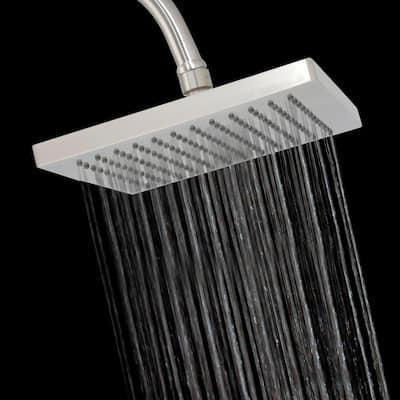 1-Spray 8 in. Single Wall Mount Fixed Rain Shower Head in Satin Nickel