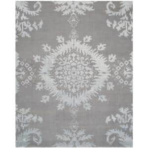 Stone Wash Gray 9 ft. x 12 ft. Floral Area Rug