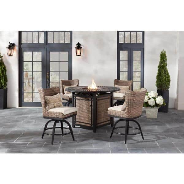 Home Decorators Collection Hazelhurst 5 Piece Brown Wicker Outdoor Patio High Dining Fire Pit Seating Set With Cushionguard Almond Tan Cushions Gc 31012 Arpset The Depot
